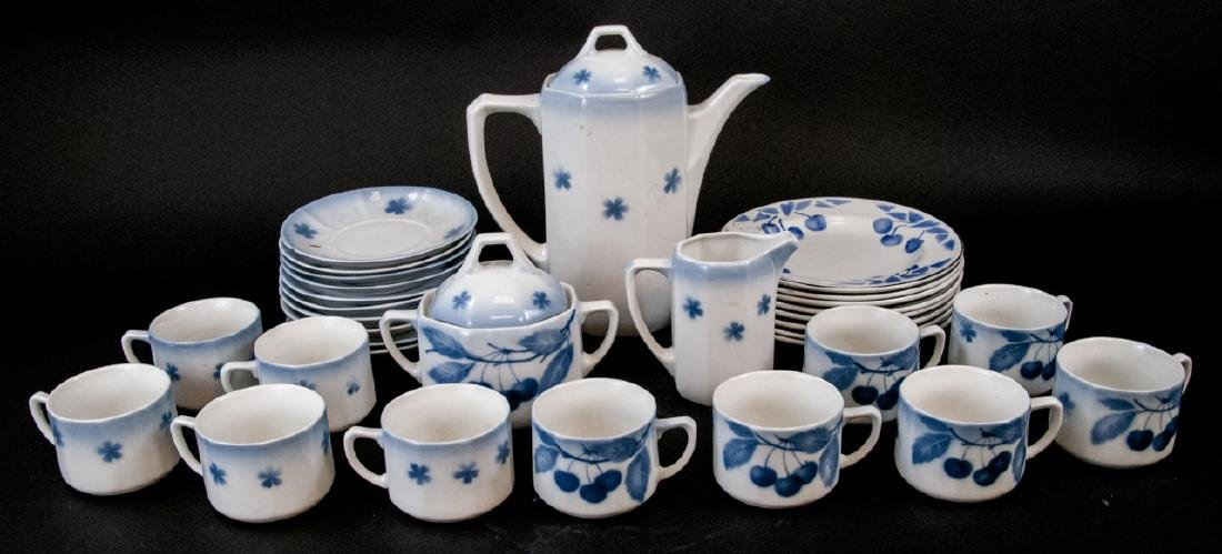 Two Sets Of Vintage Blue & White Cherries China