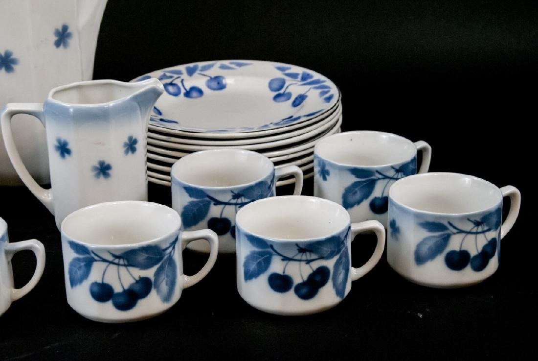 Two Sets Of Vintage Blue & White Cherries China - 8