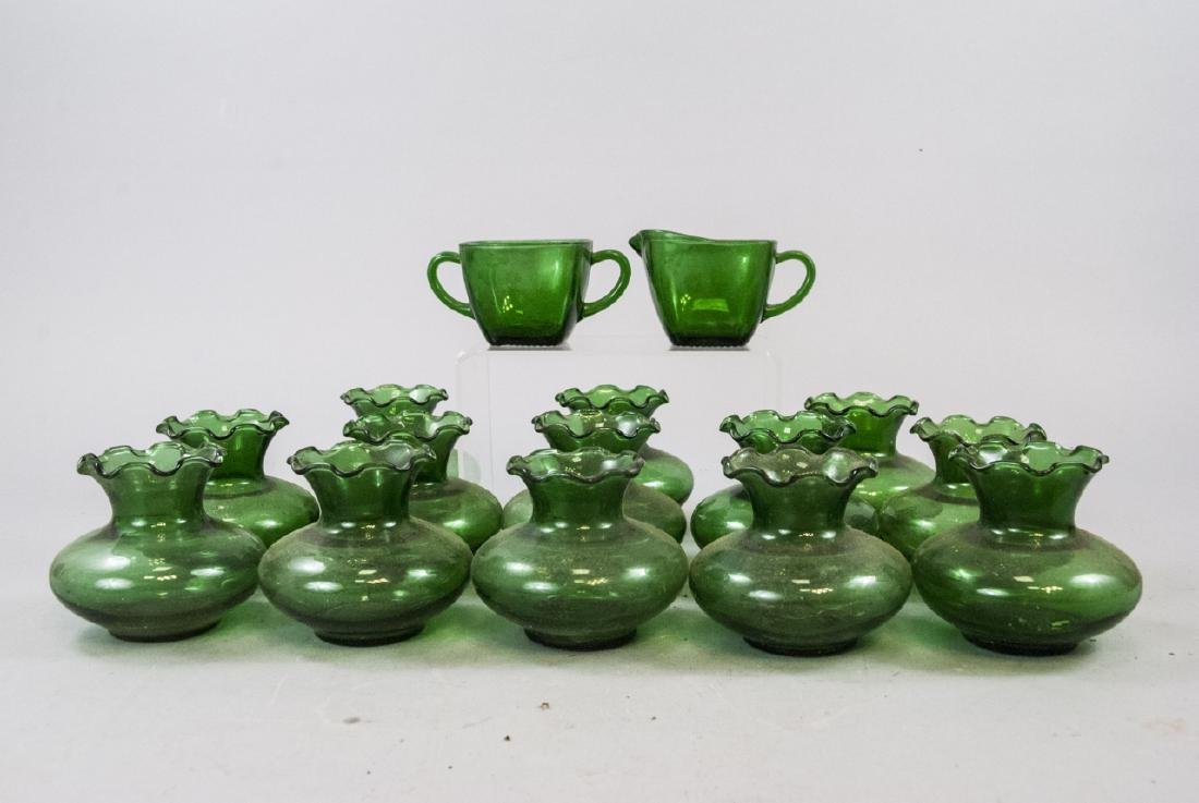 Assorted Lot Of Transparent Green Glass Items - 2