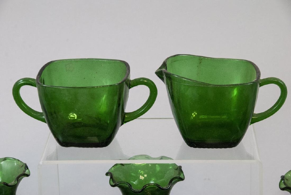 Assorted Lot Of Transparent Green Glass Items - 4