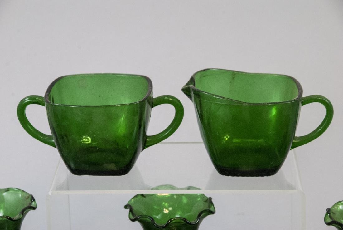 Assorted Lot Of Transparent Green Glass Items - 5