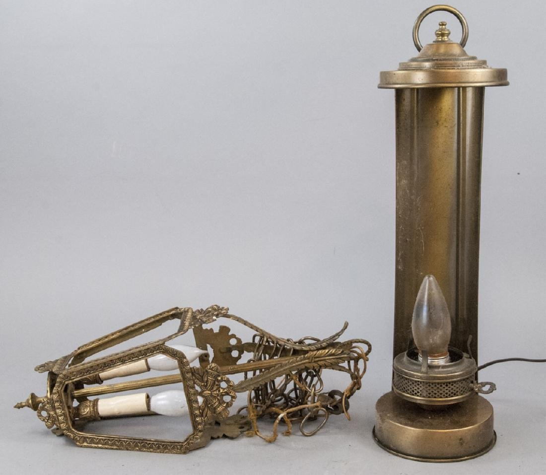 Two Assorted Brass Electric Lamp / Hanging Lamp