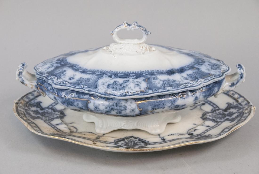 Antique English Blue & White Serving Pieces - 11