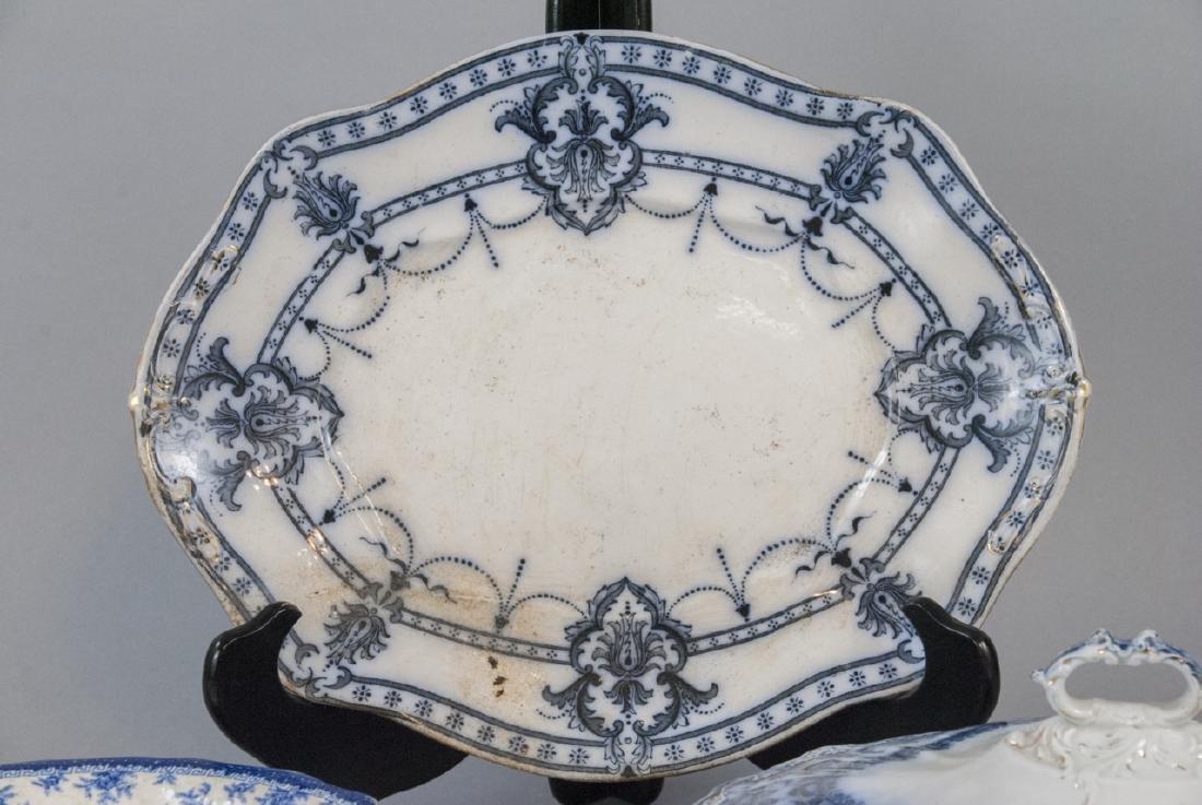 Antique English Blue & White Serving Pieces - 4