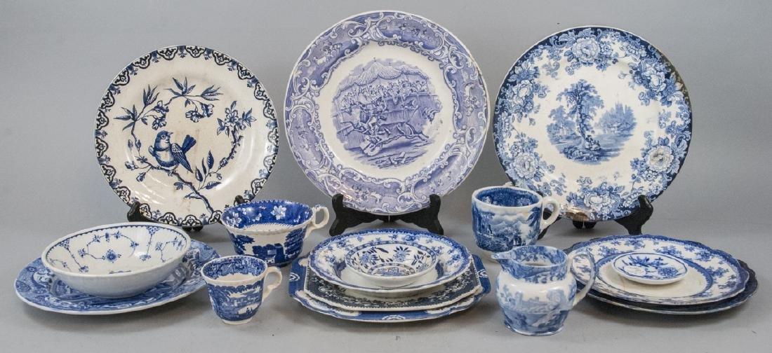 Lot Of English Blue & White Transfer Ware China - 2
