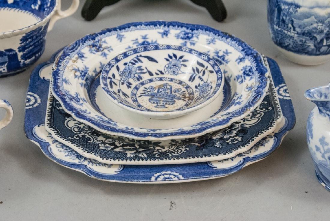 Lot Of English Blue & White Transfer Ware China - 3
