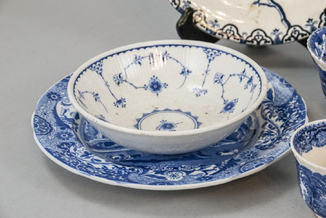 Lot Of English Blue & White Transfer Ware China - 5