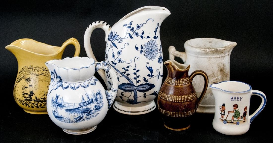 Six Vintage Porcelain / Ironstone Pitchers