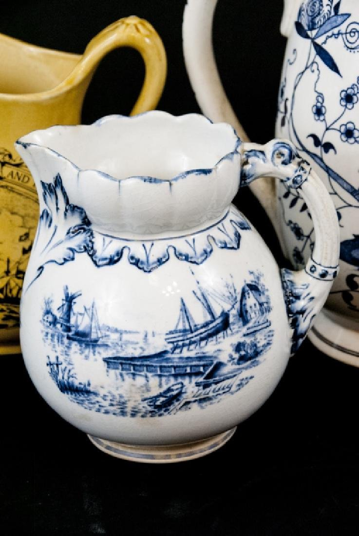 Six Vintage Porcelain / Ironstone Pitchers - 6
