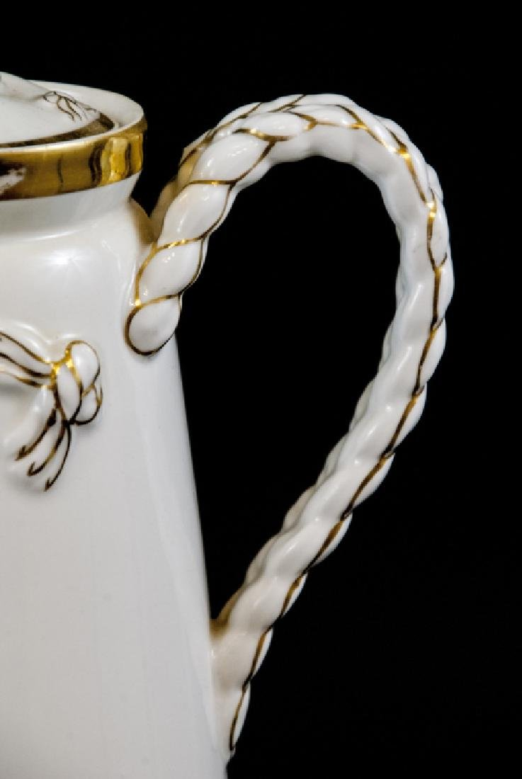 Antique Limoge White Porcelain Pitcher - 3