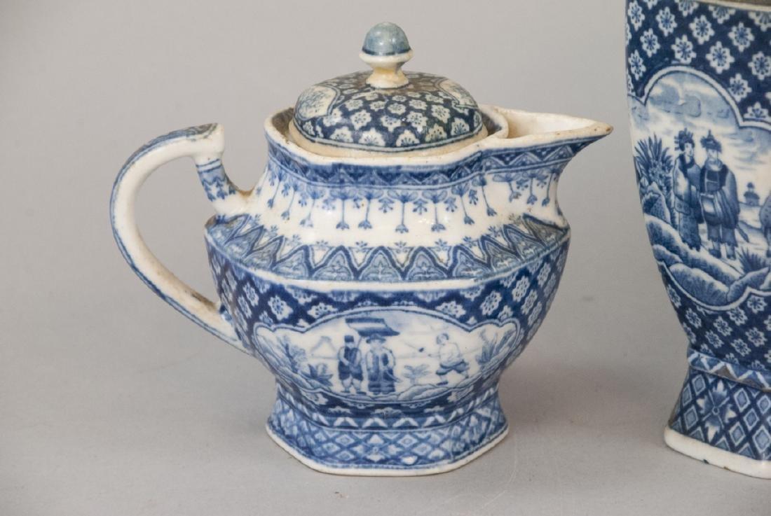 Antique Asian Blue & White Pottery Tea Set - 2