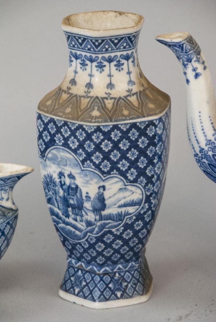 Antique Asian Blue & White Pottery Tea Set - 3