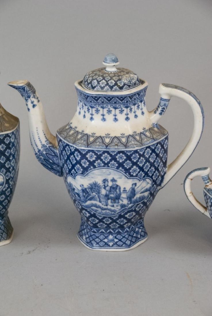 Antique Asian Blue & White Pottery Tea Set - 4