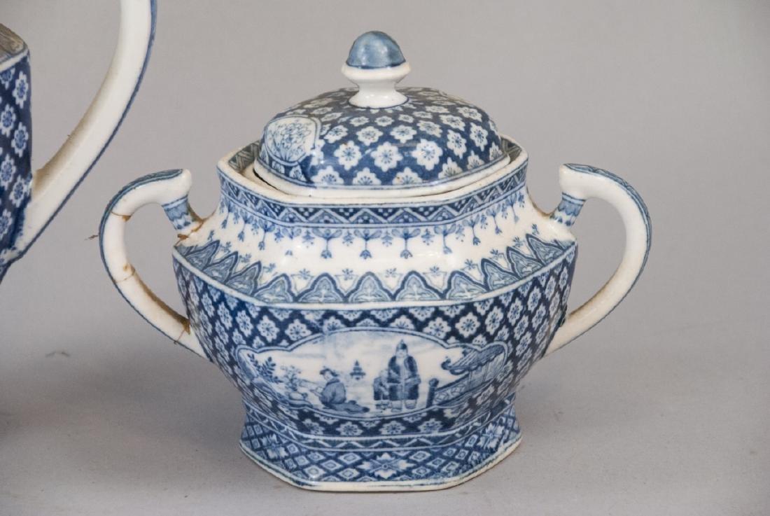 Antique Asian Blue & White Pottery Tea Set - 5
