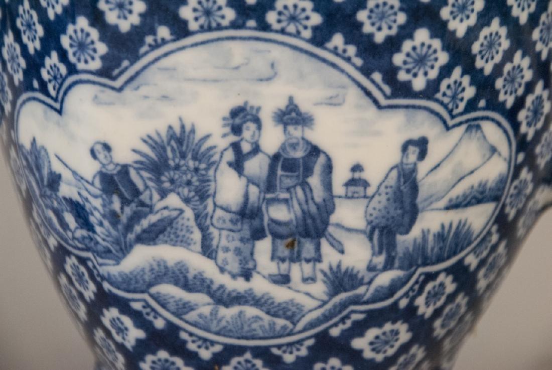 Antique Asian Blue & White Pottery Tea Set - 6
