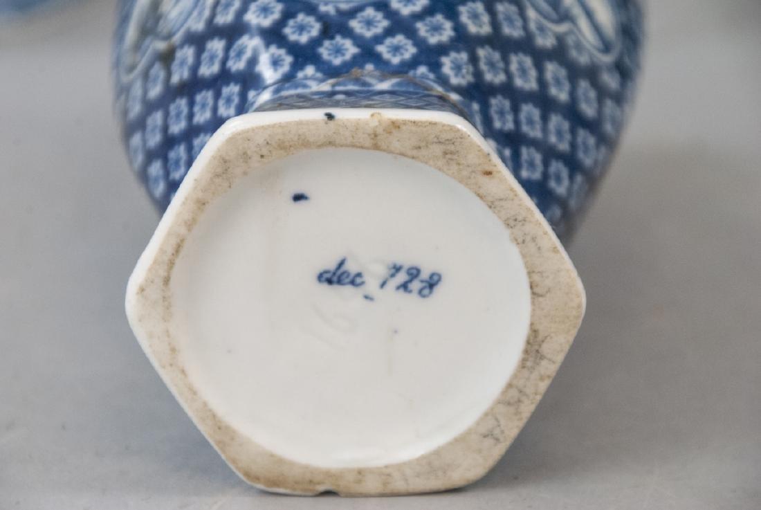 Antique Asian Blue & White Pottery Tea Set - 7