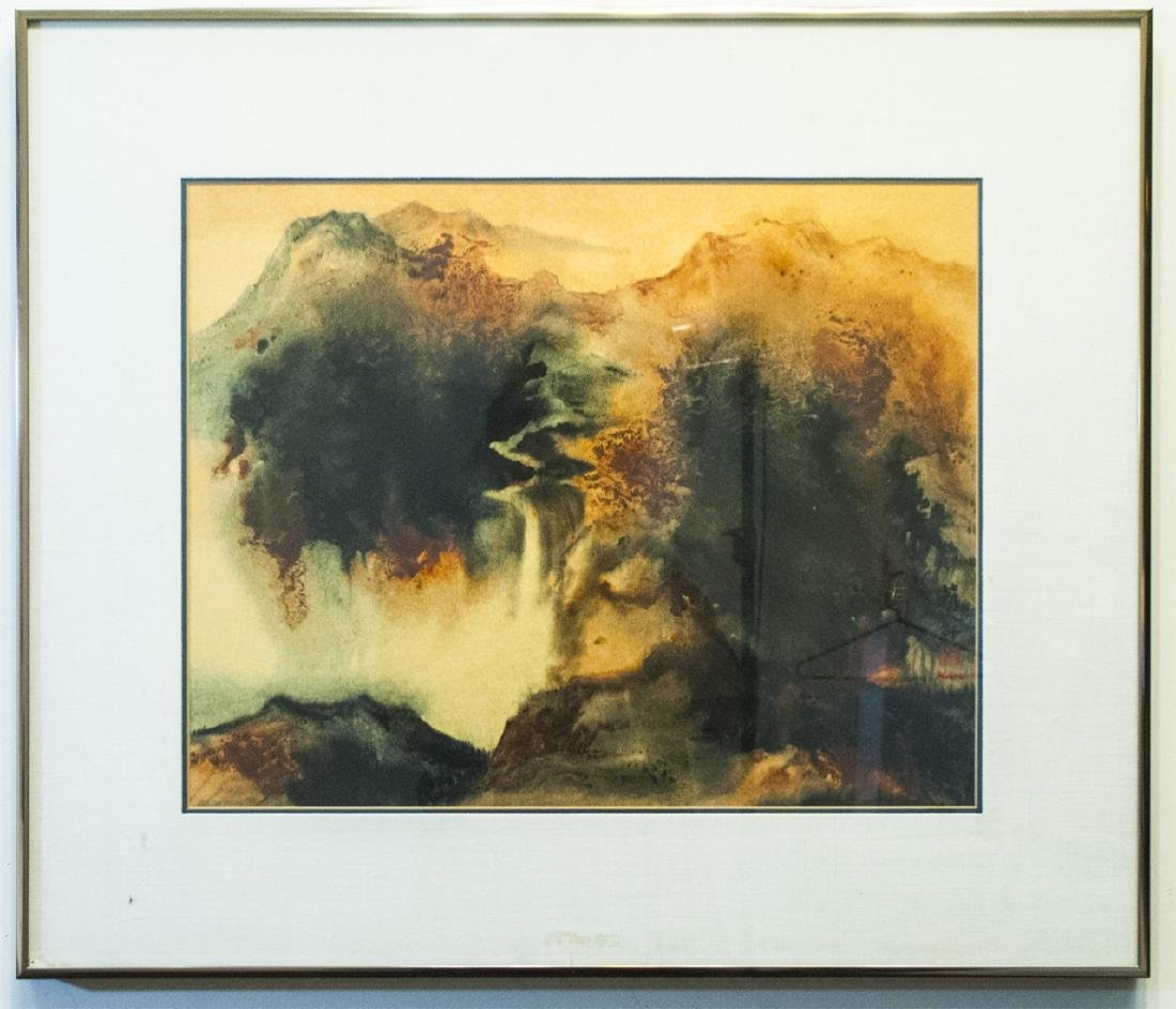 Signed & Framed Diana Kan Watercolor on Silk