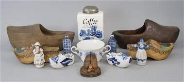 Antique Dutch Wooden Shoes Ceramics  Figurine