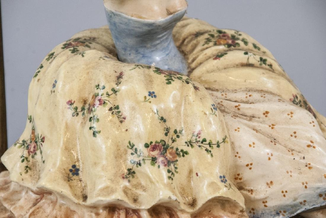 Hand Painted Porcelain Victorian Woman Lamp - 3