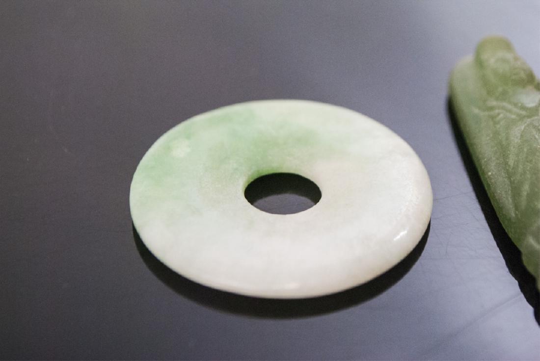 Chinese Jade or Hardstone Bi Disc, Turtle & Buddha - 3