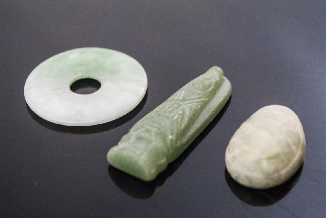 Chinese Jade or Hardstone Bi Disc, Turtle & Buddha - 5