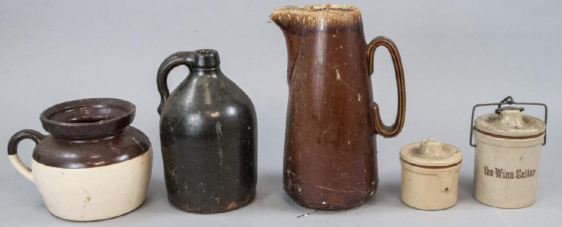 Antique Stoneware Pitchers & Containers