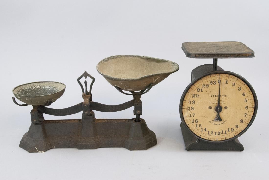 Pair Antique Scales Hanson Bros. & General Store