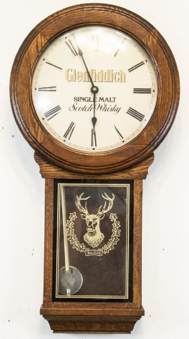 Vintage Glenfiddich Whisky Wooden Wall Clock