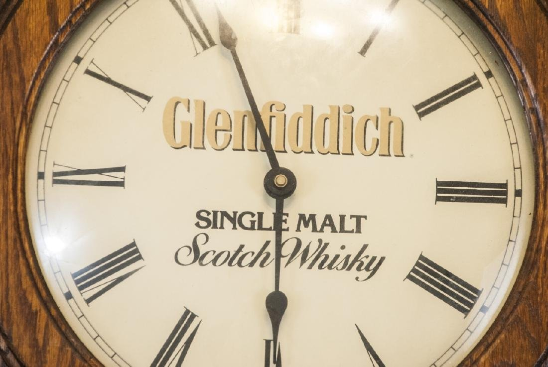 Vintage Glenfiddich Whisky Wooden Wall Clock - 2