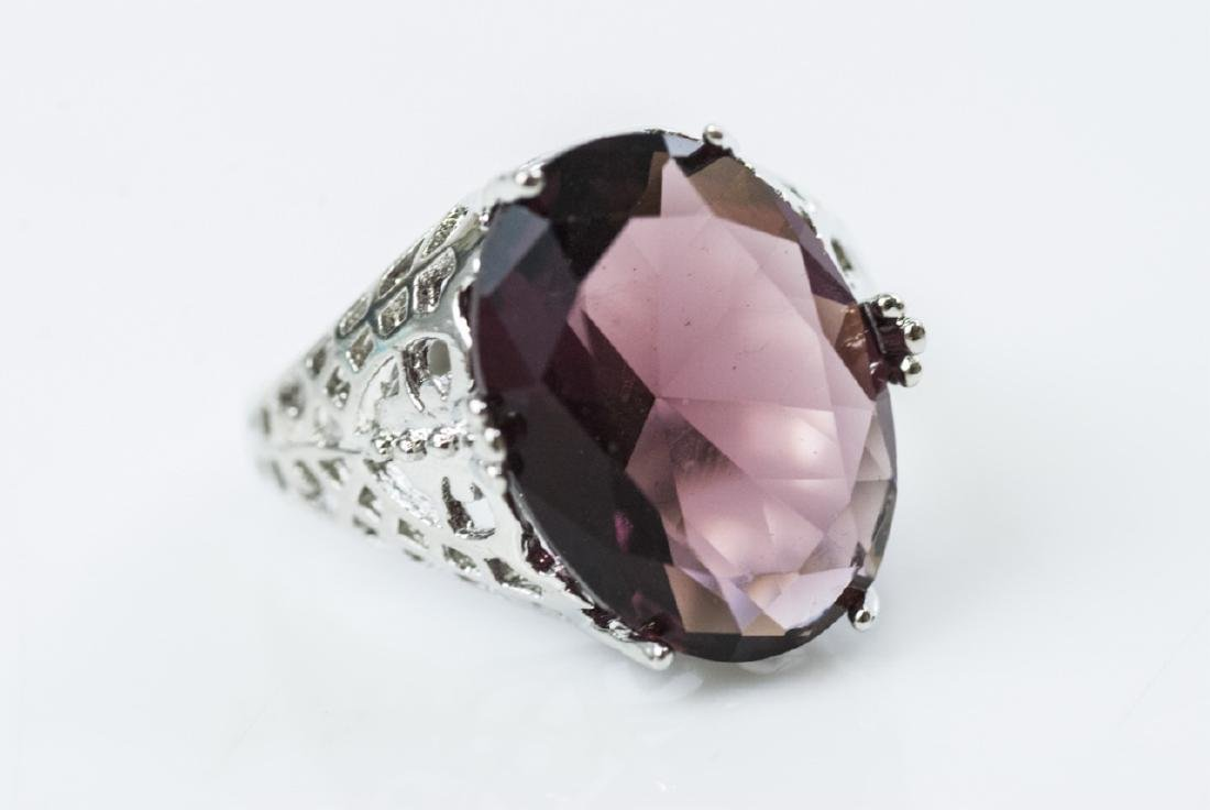Group Amethyst Glass Cocktail Rings & Signet Ring - 2