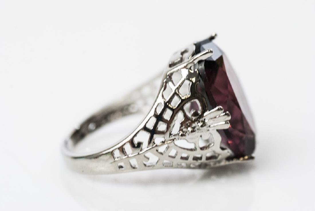 Group Amethyst Glass Cocktail Rings & Signet Ring - 3