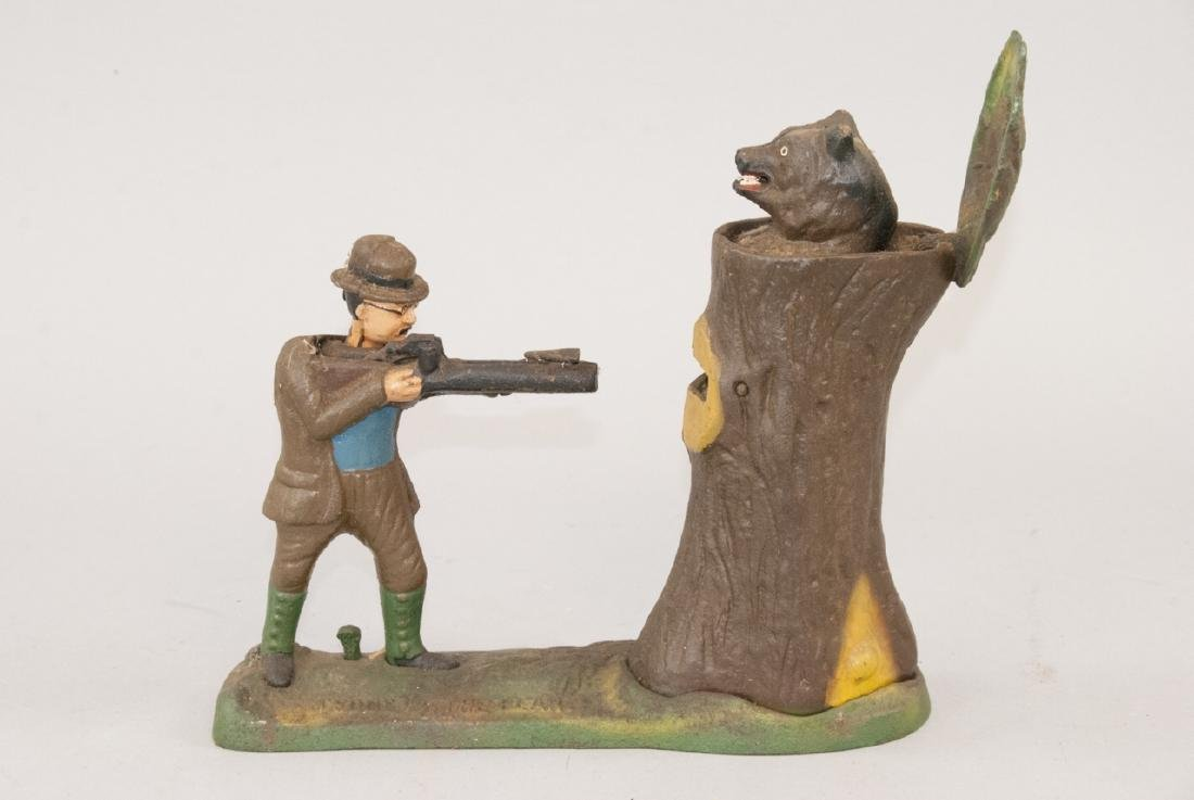 Cast Iron Teddy & The Bear Reproduction Coin Bank