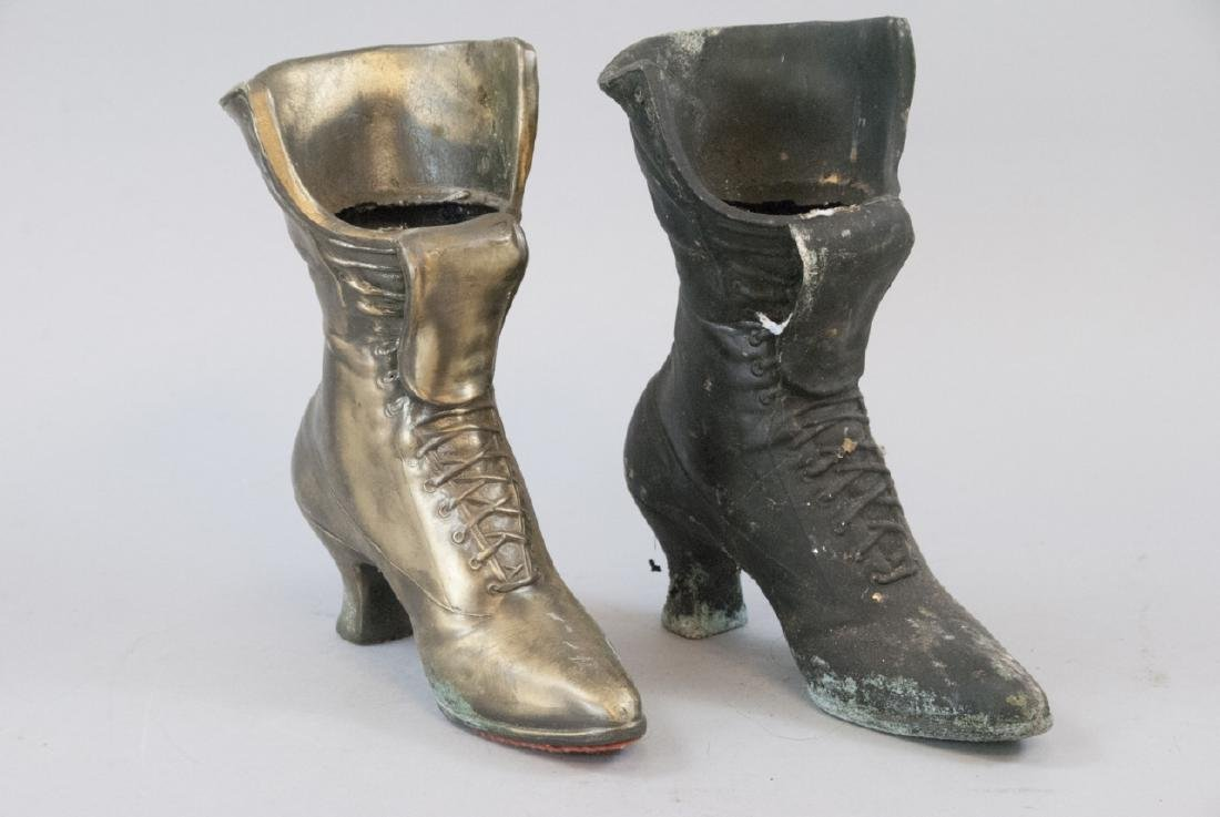 Pair Of  Brass Victorian Woman's Boot Planters