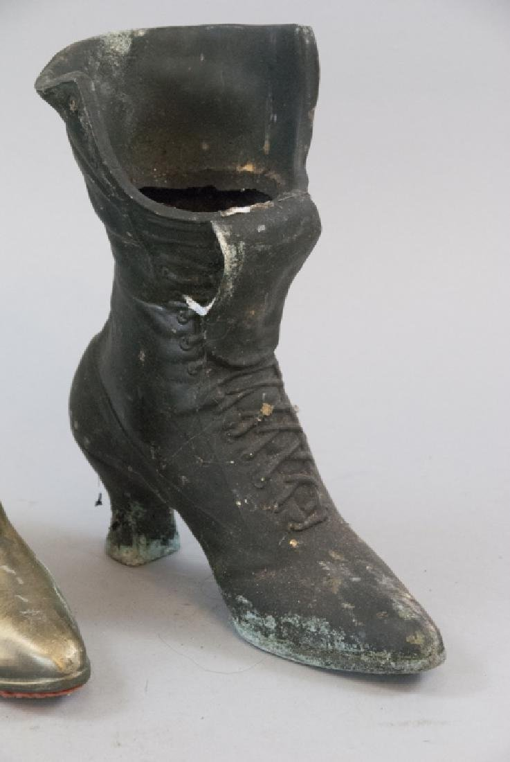 Pair Of  Brass Victorian Woman's Boot Planters - 2