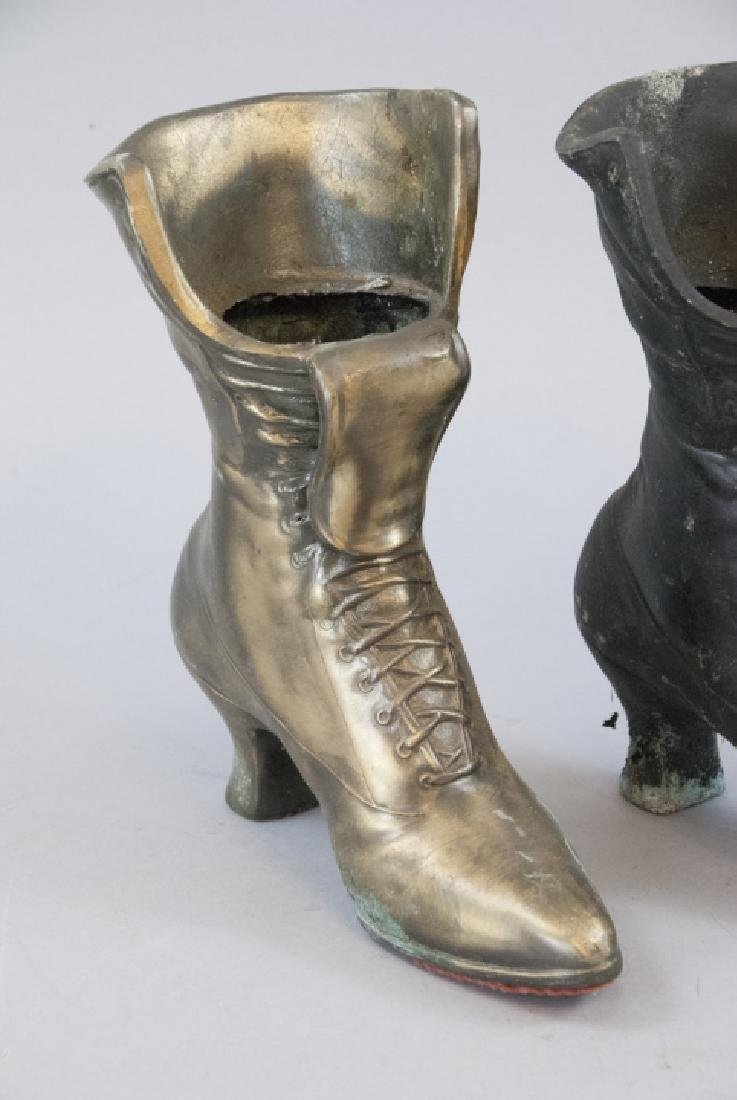 Pair Of  Brass Victorian Woman's Boot Planters - 3