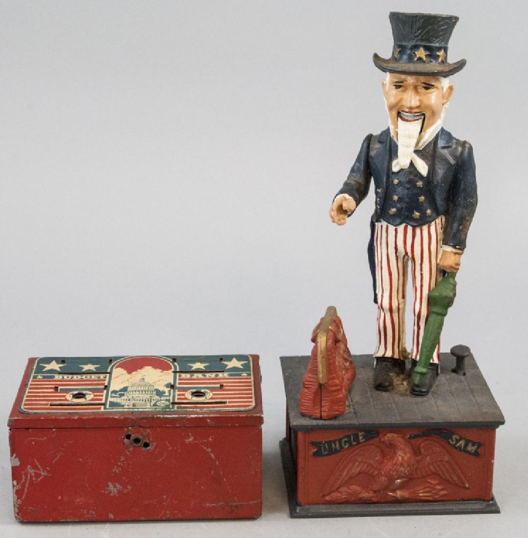 Vintage Uncle Sam Bank and Budget Bank Box