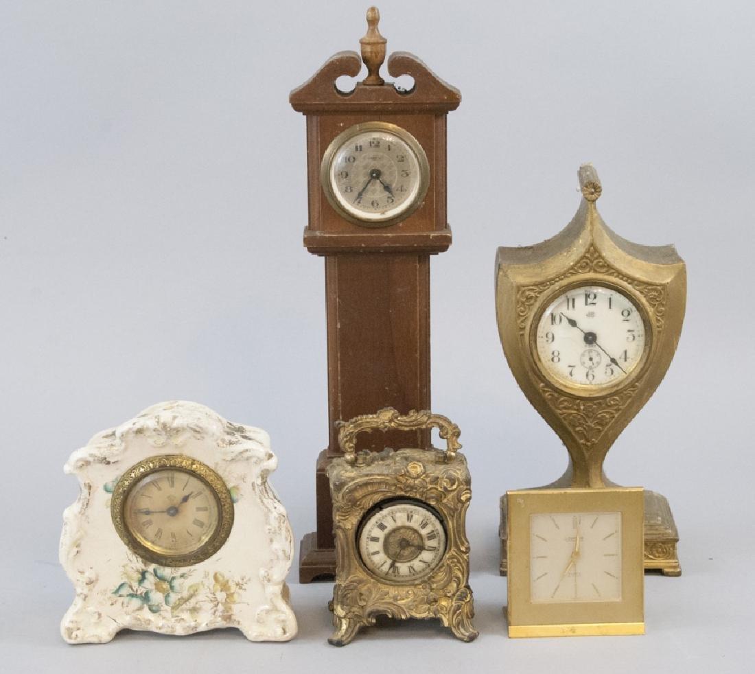 Lot Of Antique & Vintage Standing Desk Clocks
