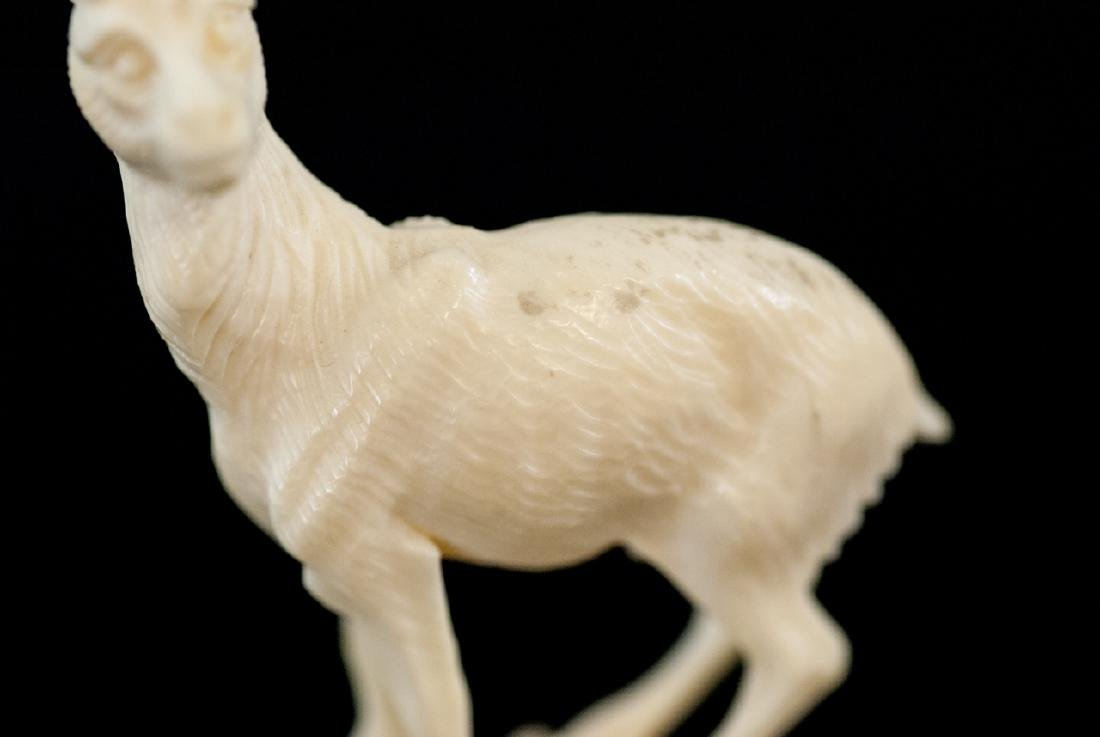 Antique Continental Carved Bone Mountain Goat - 2