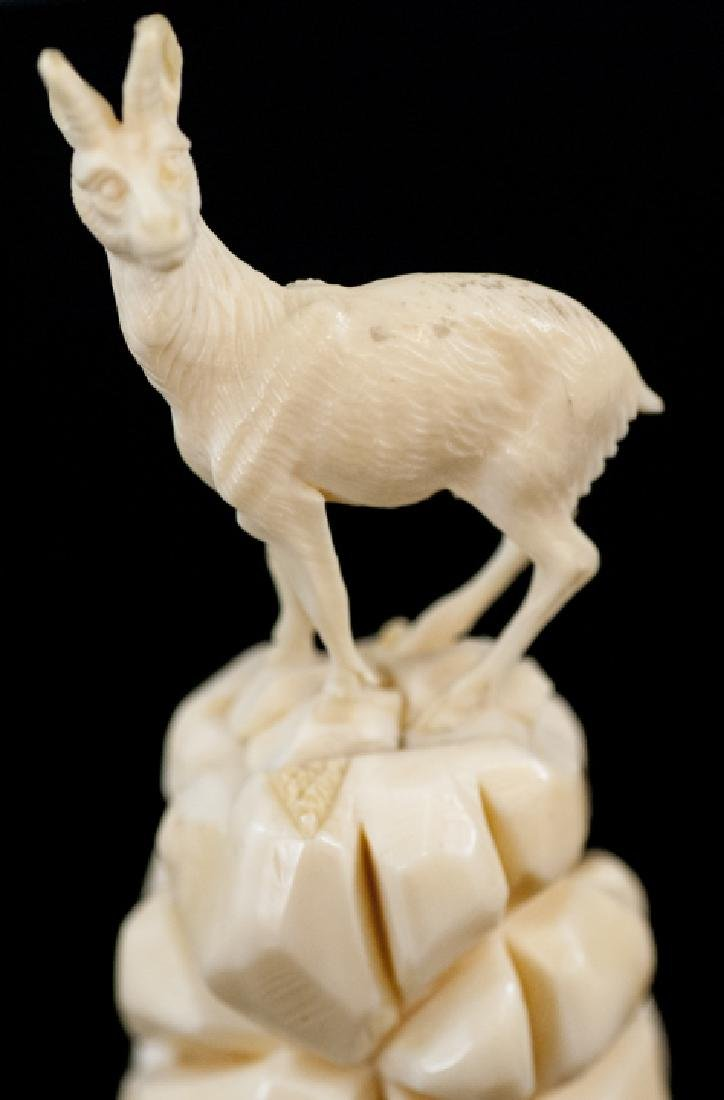 Antique Continental Carved Bone Mountain Goat - 5