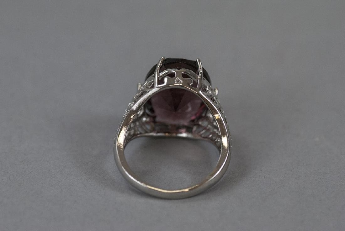 Sterling Silver Filigree Amethyst Cocktail Ring - 2