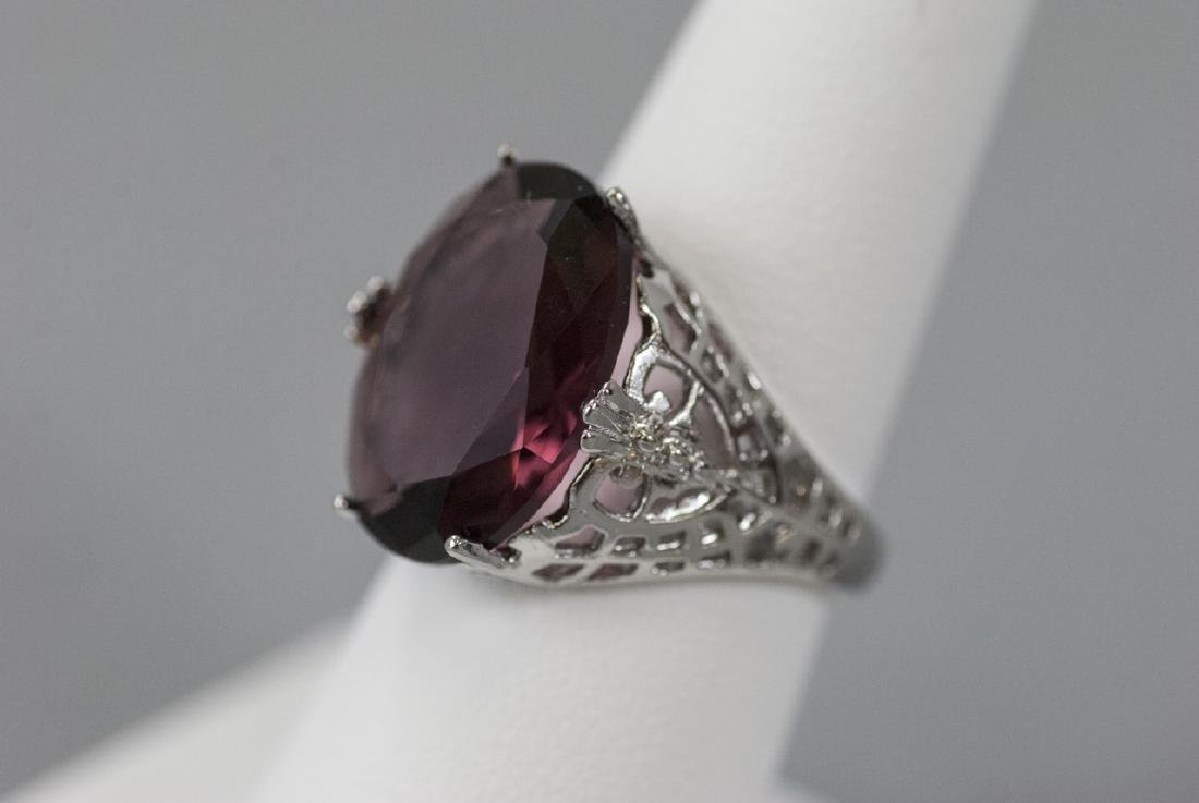 Sterling Silver Filigree Amethyst Cocktail Ring - 3