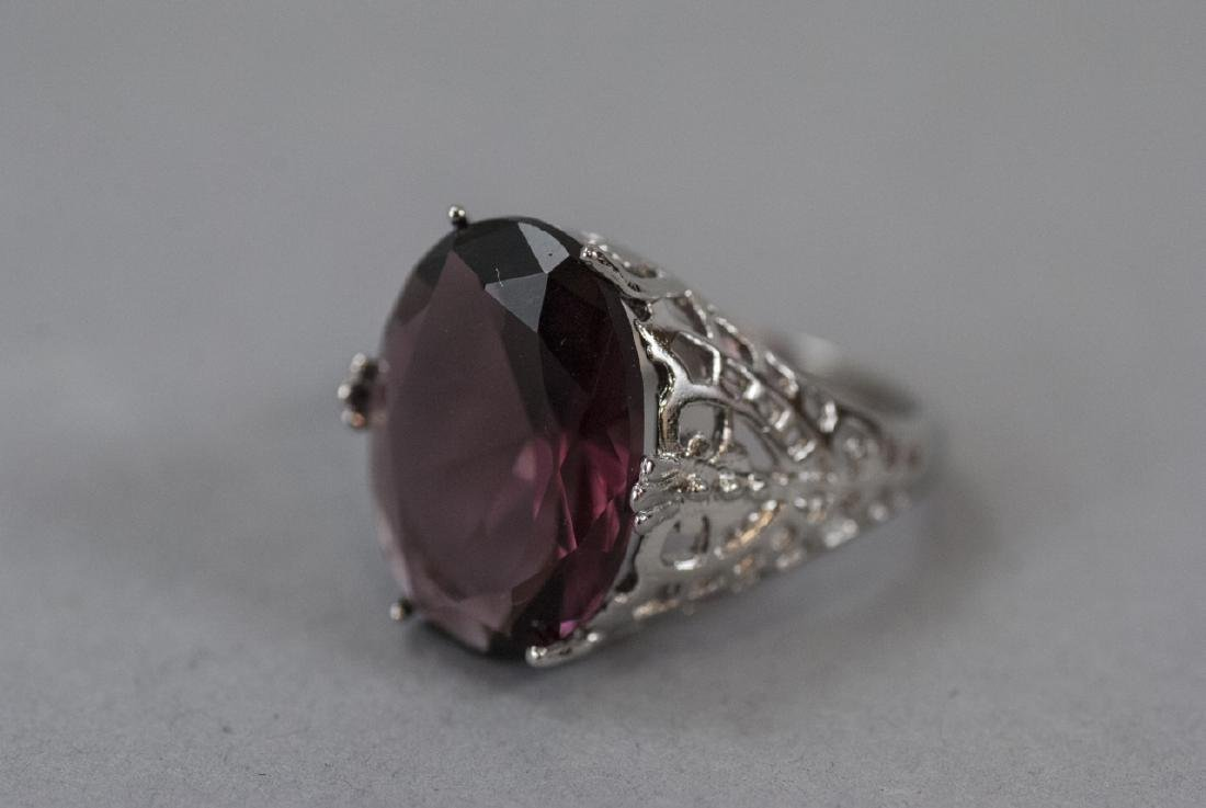 Sterling Silver Filigree Amethyst Cocktail Ring - 6