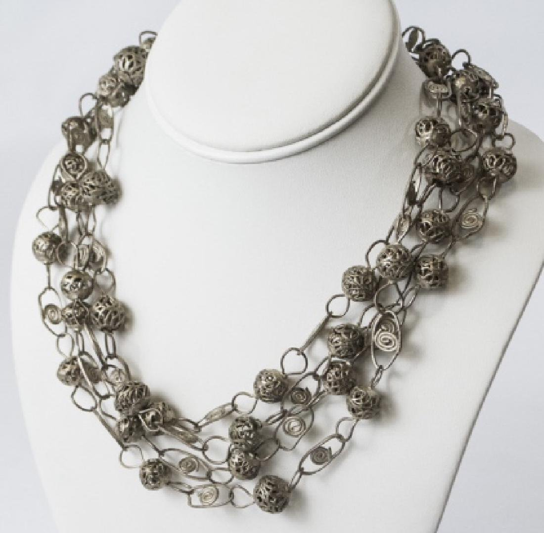 Estate Silver Tone Ornate Wire Wrap Necklace