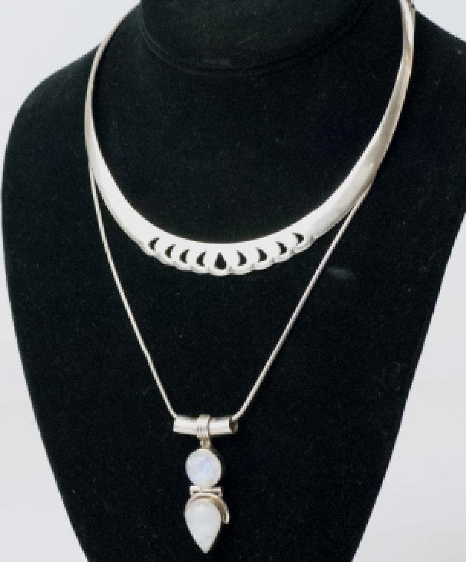 Two Sterling Silver Necklaces - Collar & Pendant