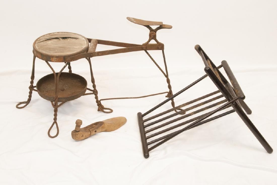 Antique Cobbler, Shoe Shine Bench & Foot Rest