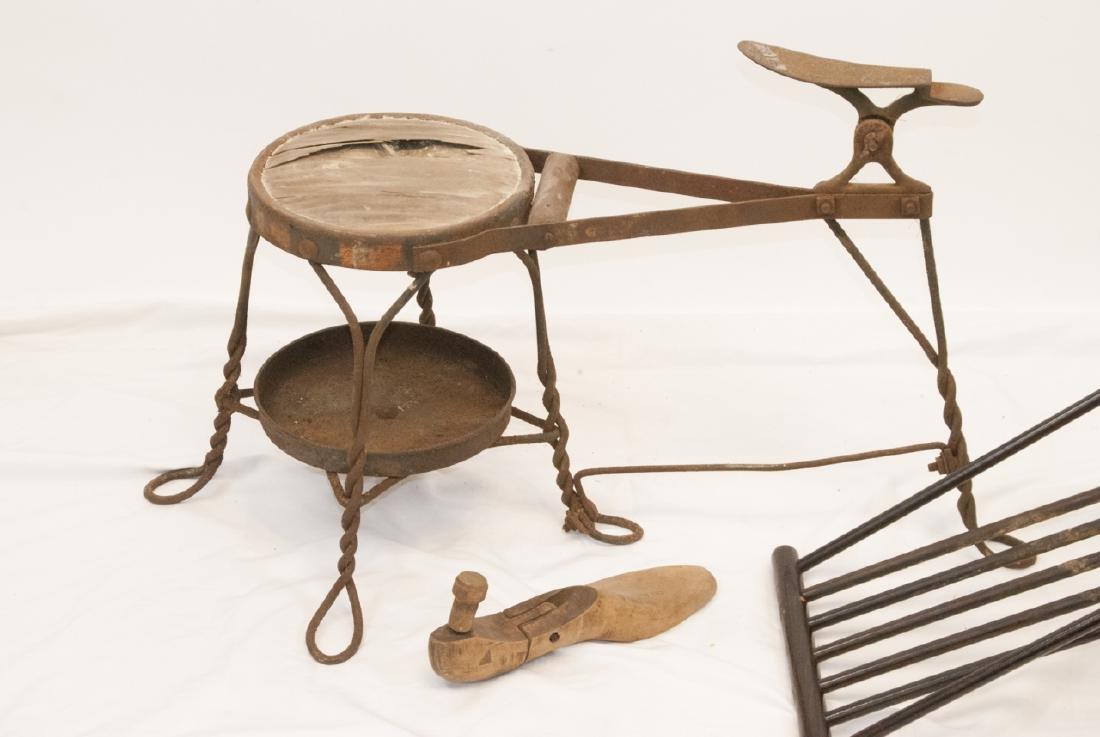 Antique Cobbler, Shoe Shine Bench & Foot Rest - 2