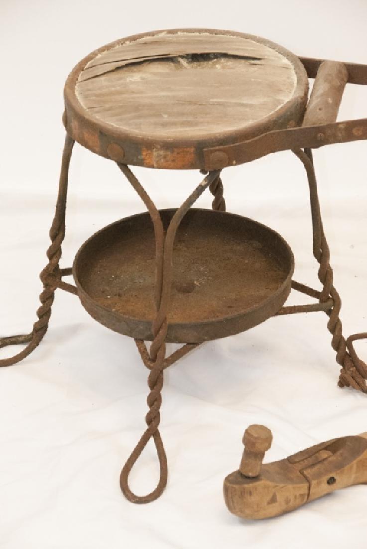 Antique Cobbler, Shoe Shine Bench & Foot Rest - 3