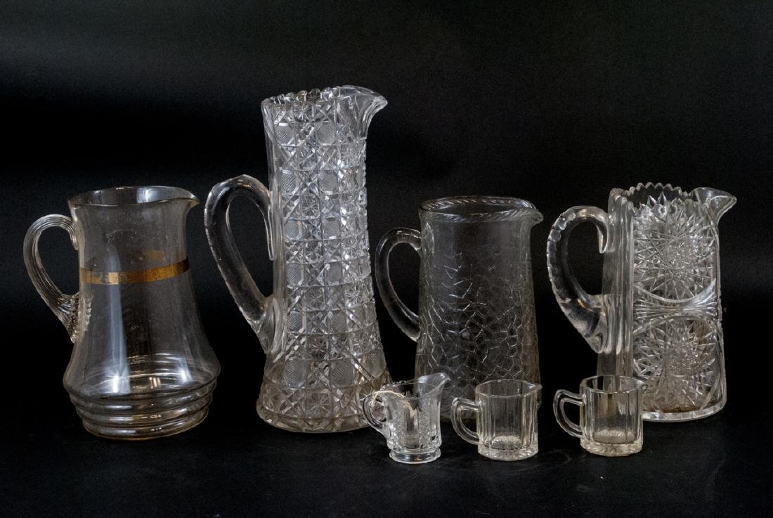 Vintage Cut Lead Crystal & Glass Pitchers