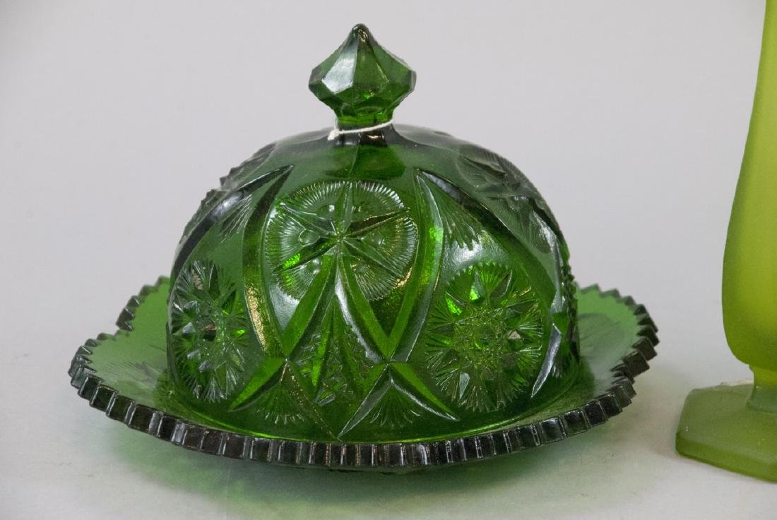 Lot Of Vintage & Antique Green Art Glass Items - 3