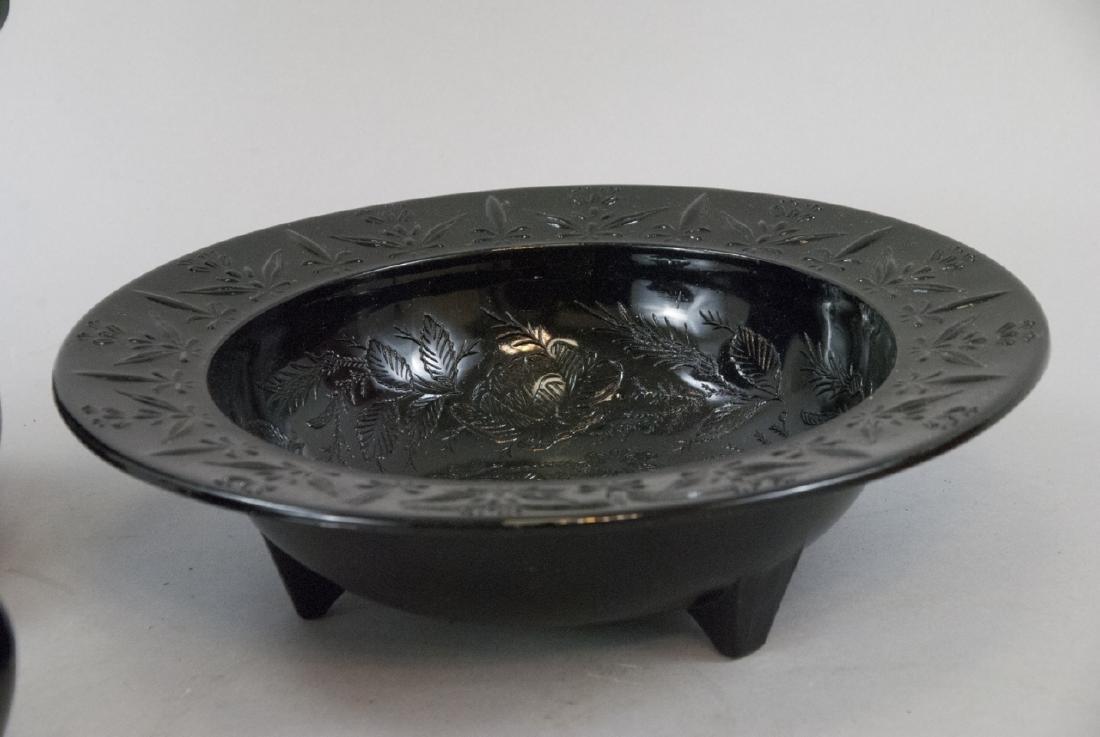 Three Vintage & Antique Black Amethyst Glass Items - 4